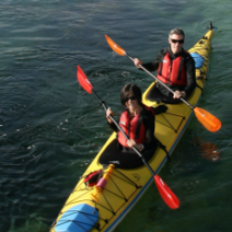 couple in a double kayak