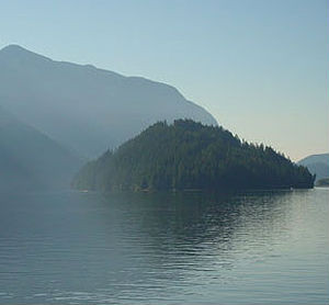 Raccoon Island in Indian Arm on a misty morning