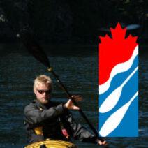 Paddle canada logo with instructor kayaking