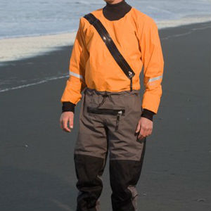 Person in a bright coloured drysuit
