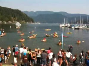 Start of the Cardboard Kayak Race in Deep Cove