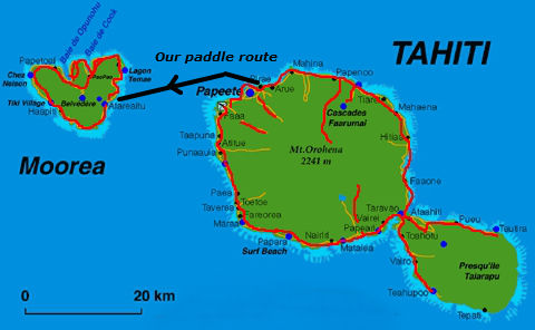 Route from Tahiti to Moorea