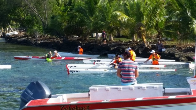 Surfskis launching for the race