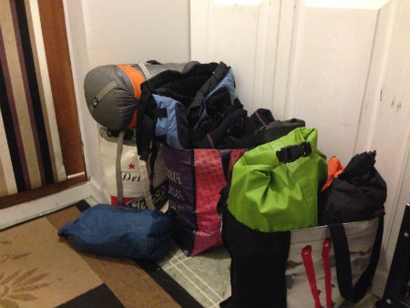 Bags for kayak trip ready to go