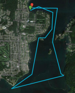 Tuesday Night Race Map of Roche Point to Maple Beach race route