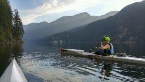 Amy paddling in a V8 Pro