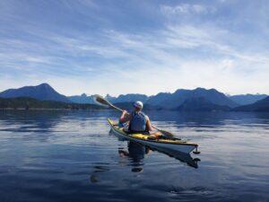 Amy paddling towards Curme Islands
