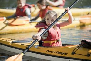 Kids Camps - girl paddling