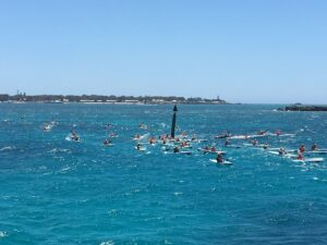 Paddlers at the doctor surfski race
