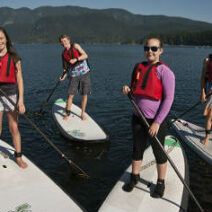SUP kids paddling in deep cove