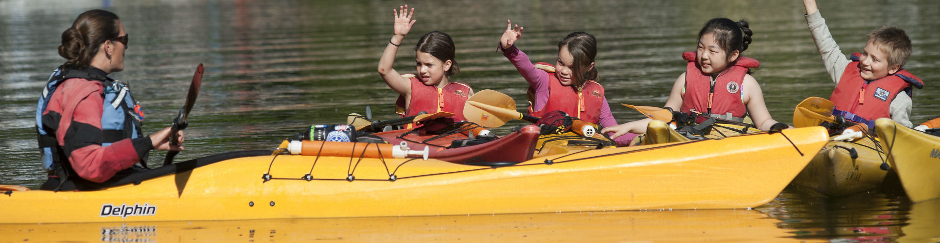 Kids kayak summer camp in deep cove