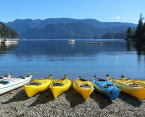 ESL Single kayaks on Deep Cove beach
