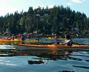 Group kayaking on Indian Arm