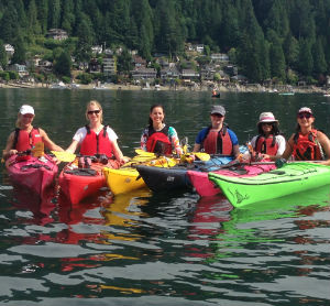 6 ladies in a kayaking lesson
