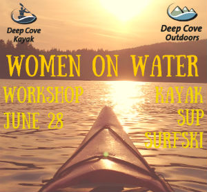 A promo poster for our Women on Water Workshop showing details about the course and the front of a kayak in the sunset