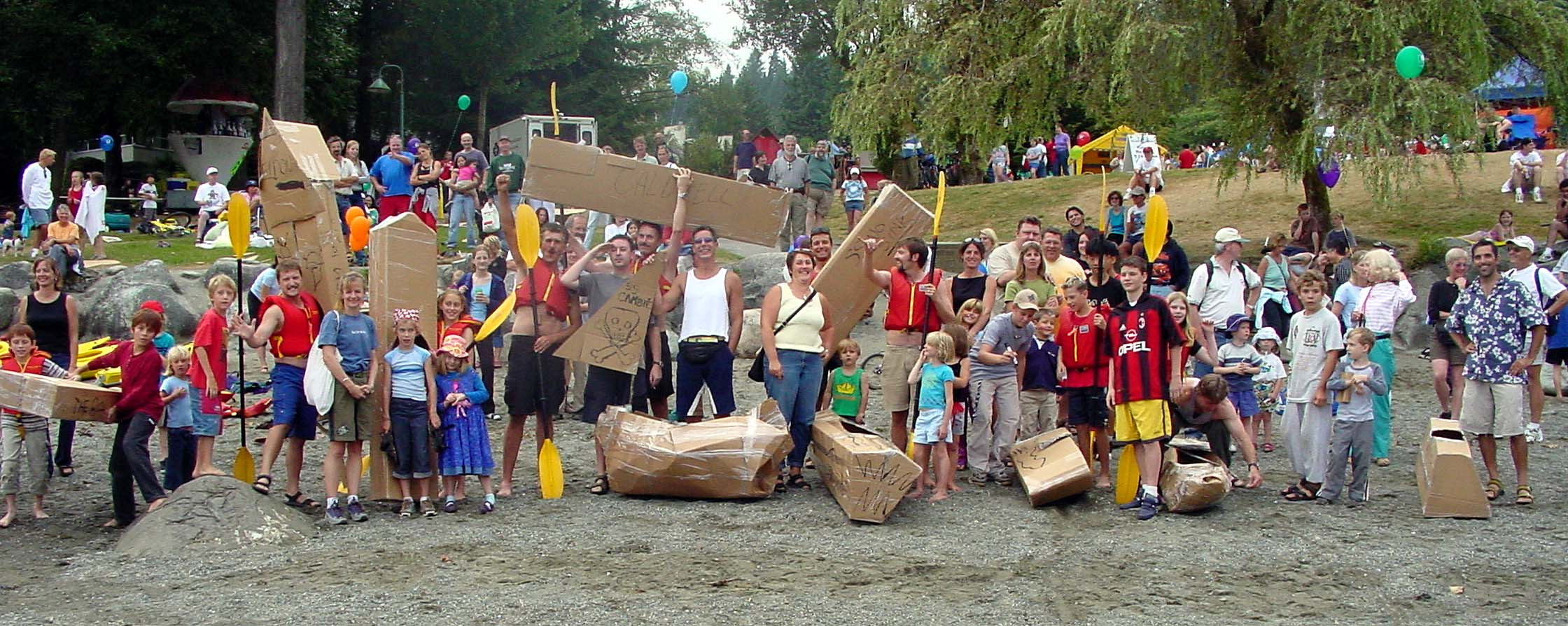 Deep Cove beach at the start of the cardboard kayak race