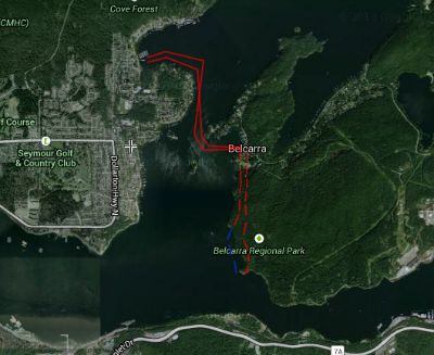 Maple Beach Multi-Sport race route in deep cove for tuesday night race